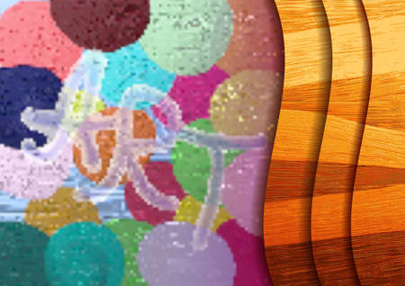 Turbid multicolored circles with the text ART. Stylistic wooden waves with shadows EPS10