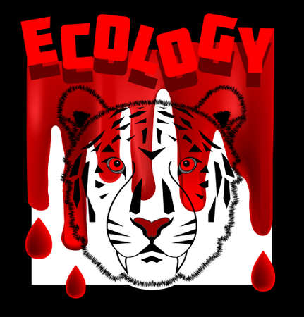 Poster tiger and bloody ecology in a black frame Illustration