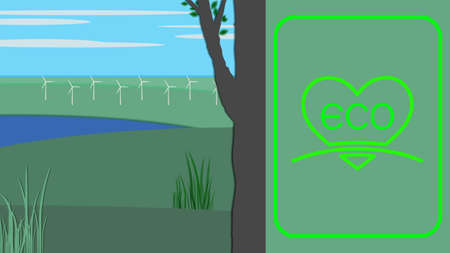 Landscape with tree and foliage, lake and grass. White wind turbines on green meadows. Eco logo. EPS10 Vettoriali