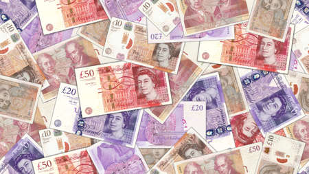 Illustration of a rectangular seamless pattern. Bank paper money. 10, 20 and 50 pounds sterling banknotes with shadows