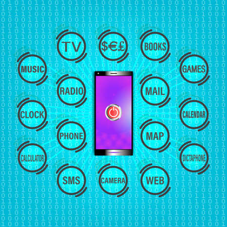 Black modern smartphone with a purple screen and a start button. Outgoing rays with icons of applications for an electronic device. Books, games, music, phone, sms, calculator, dollar, camera EPS10 Ilustración de vector
