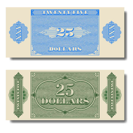 Paper money. Green and blue banknote of twenty five dollars with guilloche grid. Part four EPS10