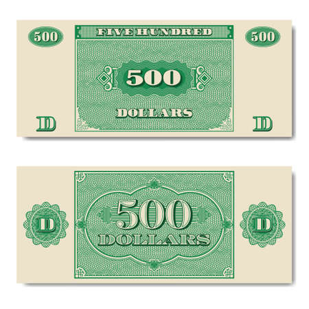 Paper money green banknote of five hundred dollars with guilloche grid EPS10
