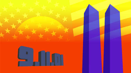 3d 911 poster. Two translucent blue stylistic skyscrapers on an orange-yellow background and the American flag. EPS10