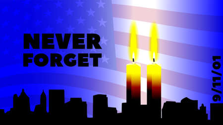 A poster dedicated to the 9 September terrorist attack. Never forget the inscription on the background of the American flag and two burning candles with the silhouette of New York. EPS10 Illusztráció
