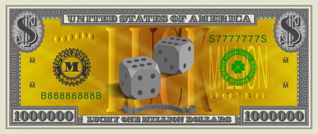 Obverse Lucky one million dollars banknote. 3d dice in the center on a gold grid and serial numbers EPS10 Vector Illustration