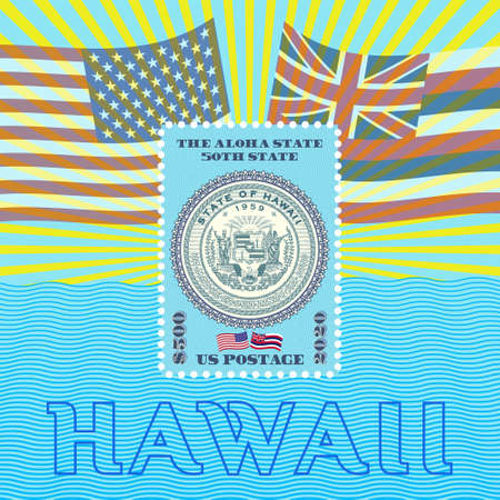 Postage stamp dedicated to the fiftieth state of America, Hawaii. Flags, rays, perforations and waves.