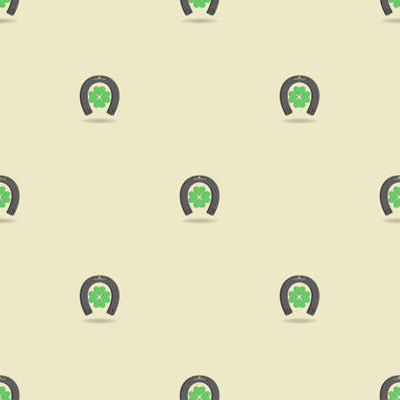 3d seamless pattern with clipping mask. Stylistic green four-leaf clover with a gray horseshoe with shadow on a light background in a staggered. Ilustracja