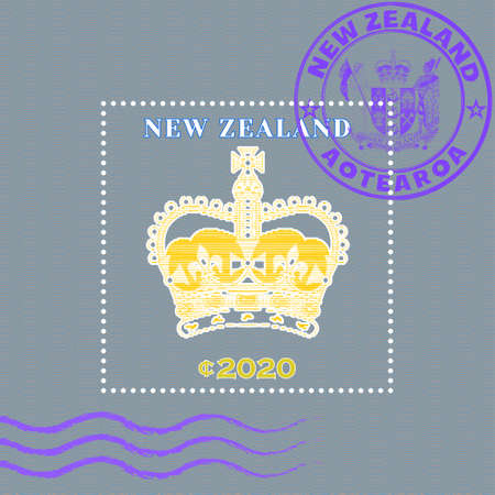 Sample of a postage stamp with wavy stripes. Stylistic vintage crown from lines. Purple seal with Maori word mean New Zealand 矢量图像