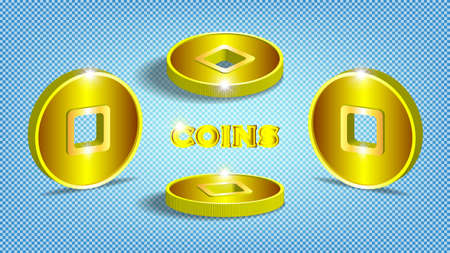 3d stylistic Asian gold ancient coins with a square hole in several projections. EPS10 Ilustracja