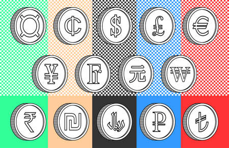 Set of 3d black and white simple icons of world currencies. Dollar, pound, euro, yen, franc, yuan, won, rupee, shekel, rial, ruble and Turkish lira sign
