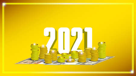 Illustration. Festive poster dedicated to the new year and christmas 2021.3d stacks of gold coins and banknotes. Dollars, Euros, Pounds and Francs