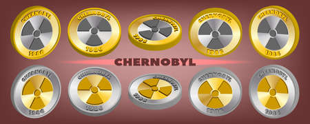 3d set of bimetallic coin-shaped tokens with the inscriptions Chernobyl 1986 and a sign of radioactive danger. EPS10