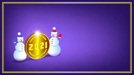 Poster Happy New Year and Merry Christmas 2021.3d festive gold coin with bright radiant glow. Two cheerful snowmen with shadows in a frame on a purple background. EPS10 Vettoriali