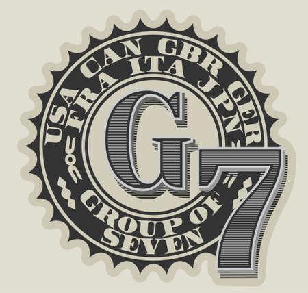 Seal dedicated to the summit of seven rich states. Great 7 Illusztráció