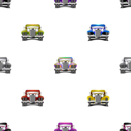 Seamless pattern without mask. Multicolored old cars located staggered EPS10