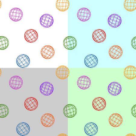 Seamless pattern without mask. Colored contours of balls