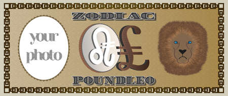 Banknote of the zodiac sign LEO from the symbol of the British pound and a place for your photo
