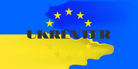 Abstract fluid union of the flags of the EU and Ukraine
