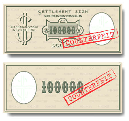 100000 dollars green banknote with a stamp and the inscription counterfeit