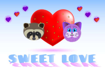 Valentine's day card with the image of a heart-berry, raccoon and cat and the inscription sweet love EPS10