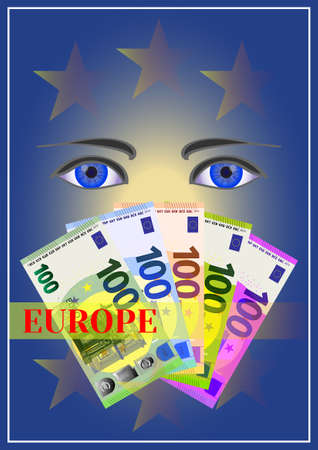 Cover with 100 Euro banknotes, blue eyes and the inscription Europe 向量圖像