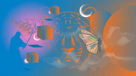 Abstract luminous sphere, butterfly, tiger and three cubes on a guilloche grid background EPS10