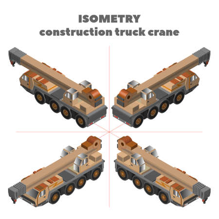 3d isometry heavy construction four-axle truck crane with telescopic boom