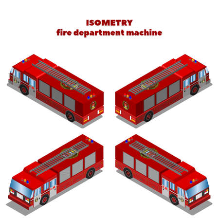 3D ISOMETRY biaxial red fire department car with a staircase in four projections
