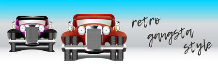 Vintage two cars and the inscription retro gangsta style EPS10