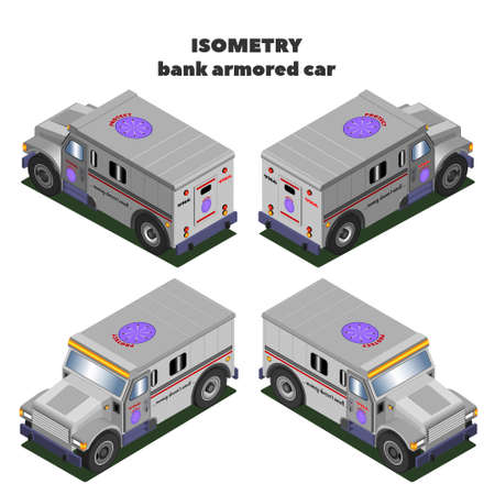 Isometric 3D bank trucks for transporting currency and jewelry 矢量图像
