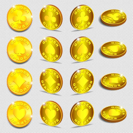 3d set of gold tokens with card suits. Golden clubs, spades, diamonds and hearts. Shadows and bright radiant glow. EPS10