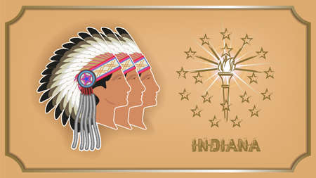 Indiana state poster with coat of arms. Profiles of Indians in the national wearing on head made of bird feathers. Stars, torch and frame with shadow. Vektoros illusztráció