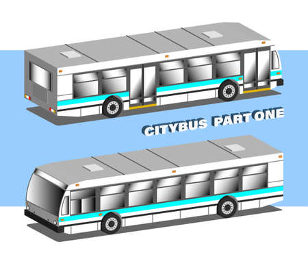 3D Isometric urban transport. City passenger bus in two projections. Part one