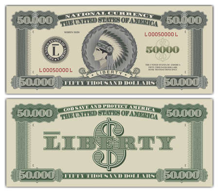 Fictional US paper money 50000 dollars. The head of the American Indian wearing a crown of feathers. Ribbon, liberty. EPS10