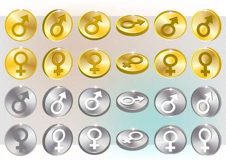 3d set of metal coin tokens with the signs of man and woman or Mars and Venus. Gold, silver and bright radiant highlights. EPS10