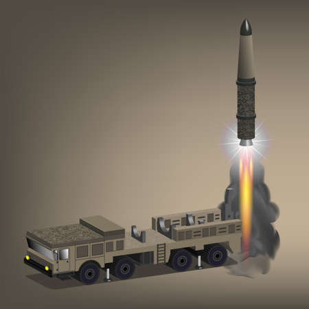 3d. Launch of a combat missile from a self-propelled off-road four-axle chassis. Fiery exhaust jet and smoke. EPS10