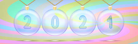 Festive poster dedicated to winter holidays. Transparent Christmas balls with numbers 2021.
