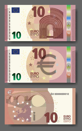 Set of new paper money in the style of the European Union. Red 10 euro banknote with architectural arch and bridge. EPS10