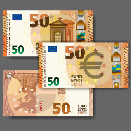 Set of new paper money in the style of the European Union. Orange 50 euro banknote with arched window and bridge. EPS10 向量圖像