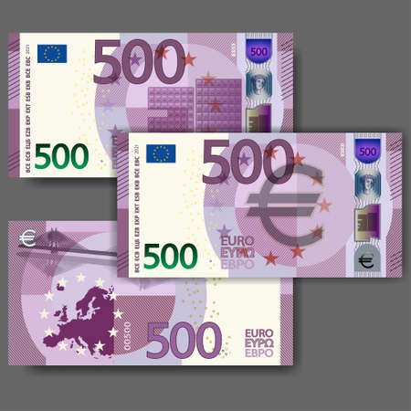 Set of new fictional paper money in the style of the European Union. Violet 500 euro banknote with abstract building and bridge. EPS10