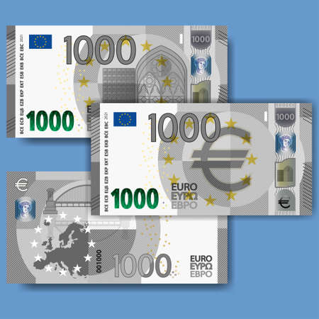 Set of new fictional paper money in the style of the European Union. Gray 1000 euro banknote with abstract building and bridge. EPS10
