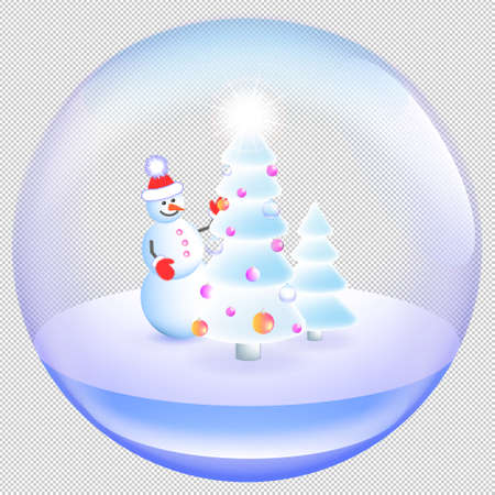 Festive winter transparent ball toy. Spruce in the snow and a cheerful snowman. Ilustración de vector