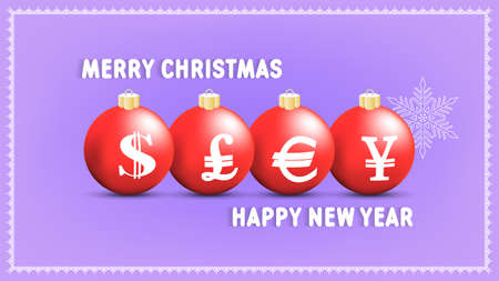 3d Holiday economic poster. Red toy balls with signs of world currencies. Merry Christmas, Happy New Year. Symbols of Dollar, Pound, Euro, Yen. Lilac background with white frame and snowflake. EPS10