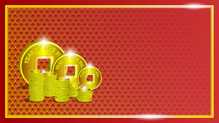 Festive red asian poster. 3d stacks of gold Chinese coins with a square hole. Large tokens, inscription Year of the Bull 2021. Textures from fans in a frame and glow.