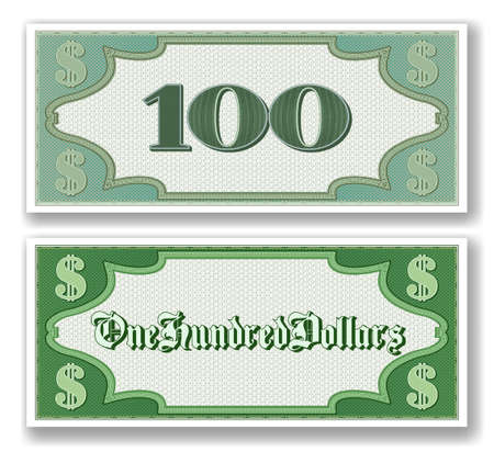 Sample paper certificate for 100 dollars. Obverse and reverse of the bill. Micronumbers. 向量圖像