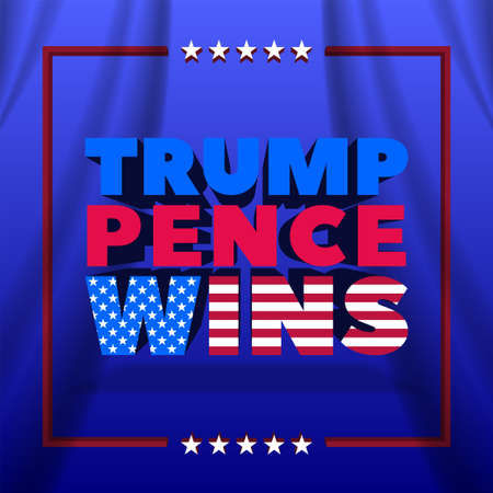 3D political poster with frame and stars on wavy background. Inscription Trump Pence Wins. Clipping mask. 矢量图像