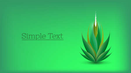 Green environmental poster. Abstract plant with sharp leaves, upward glow and sparks. Lettering, simple text. Ilustrace