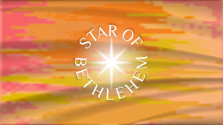 Bright orange wavy abstract background with muddy spots and the inscription around a circle the star of Bethlehem. In center a radiant flash.