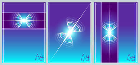 Set of abstract light cyan purple covers. Bright glowing colored ovals and a long beam with diagrams. A4 format. Arcuate turbid curves. Clipping mask.